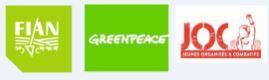 Logo FIAN Belgium, Greenpeace Local Group Brussels, JOC