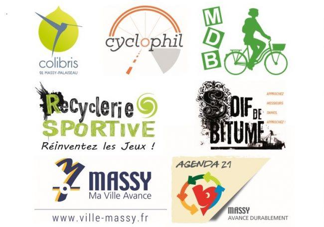 Logo Alternatiba Paris + Collectif vélo local (Colibris Massy-Palaiseau, cyclophil, Mieux se Déplacer à Bicyclette (MDB), la Recyclerie Sportive de Massy et Soif de Bitume, Agenda 21 de la mairie de Massy)