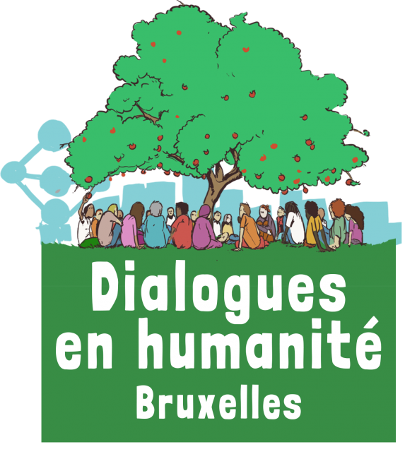 Logo Dialogues en humanité Bruxelles en partenariat avec La Maison des Cultures de Molenbeek, Brussels Academy et La Fonderie