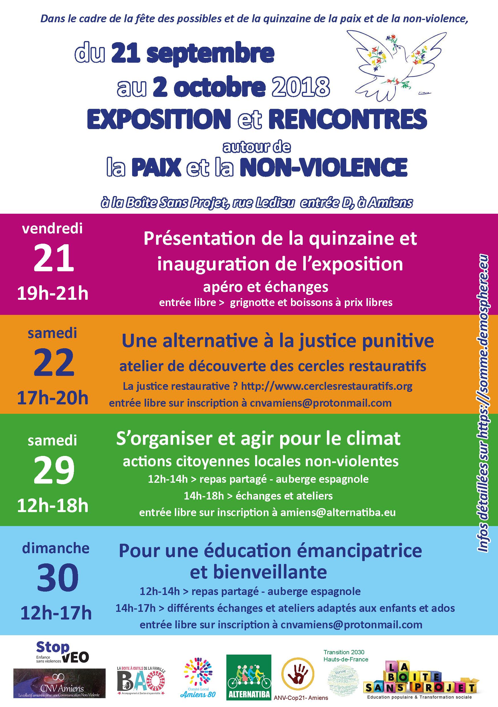 Inauguration de l'exposition sur la non-violence et présentation de la quinzaine