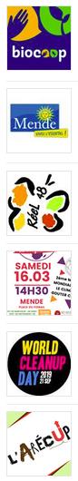 Logo Co-organisation entre la Biocoop La Clairefontaine, la Ville de Mende, l'Arecup, World Clean Up Day, le RéeL - CPIE de Lozère